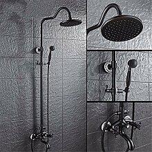 Badezimmer en suite Badezimmer Zubehör retro schwarz voll Kupfer blau und weiß Porzellan, Dusche Dusche Regendusche