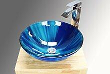Badezimmer Garderobe zinntheken gemischt blau Glas Waschbecken