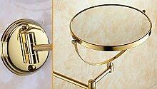 Badezimmer hochwertigen doppelseitigen Spiegel Schönheit/Teleskopklappspiegel/Lupe/Rose Gold Bronze-Wandspiegel-B