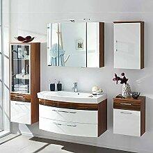 Badezimmer Kombination in Weiß Hochglanz Walnuss kaufen (5-teilig) Pharao24