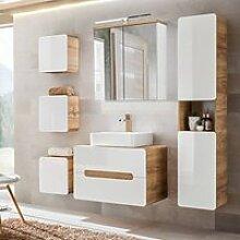 Badezimmer Komplett-Set Hochglanz weiß,
