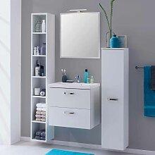 Badezimmer Komplettset mit Regal Weiß (4-teilig)