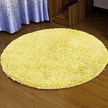 Badezimmer Matte Matratze, Badezimmermatte, saugfähige Matte, Schlafzimmer Matratze, Badezimmermatte, 120cm Matte, Round Mat ( Farbe : Gelb )