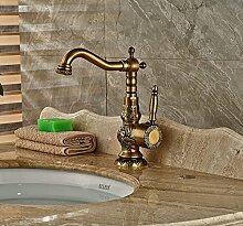 Badezimmer Messing antik Waschbecken Wasserhahn Vanity Wasserhahn Deck montiert Schwenkauslauf Hebel One Loch gelb