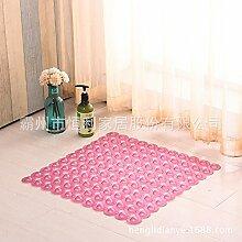 Badezimmer mit Badewanne Anti-Rutsch-Pad pvc Badezimmertür mat rutschfeste Füße massage Dusche Matten , Quadrat transparent pink, 50cm*50cm