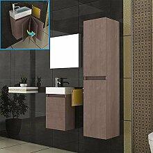 Badezimmer Möbel / Unterschrank & Waschbecken & Hochschrank & Spiegel / Farbe: Braun