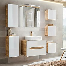 Badezimmer Möbelset Hochglanz weiß, Wotaneiche