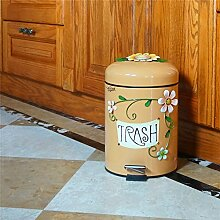 Badezimmer Mülleimer mit Deckel, Pedal Typ süß Verdickung, doppeltes Wohnzimmer Küche, europäischen Stil 6 L, Schokolade