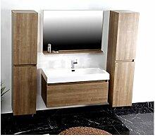 Badezimmer P1003 cappuccino Badmöbel Badezimmermöbel Spiegel Waschbecken Schrank
