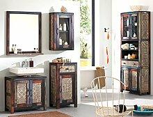 Badezimmer Punjab 3 Akazie Metall 5-teilig Hochschrank Unterschrank Hängeschrank Kommode Spiegel Used Look Vintage