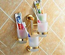 Badezimmer Regal Glas, Antique Brass an der Wand