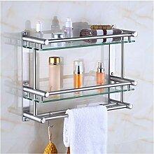 Badezimmer-Regale aus Glas mit Haken,