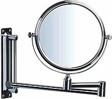 Badezimmer-Schminkspiegel-Hotel-Badezimmer-Wand-faltender Doppelseitiger Zoom Retractable Kosmetik-Spiegel-Rasierspiegel Acht-Zoll-3-fache Vergrößerung 360-Grad-Drehung Doppelseitiger High-Definition-Schminkspiegel (Durchmesser 20cm) Xuan - worth having