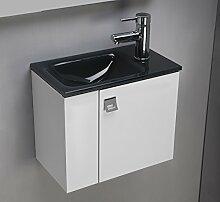 Badezimmer Schrank mit Float Glas Waschbecken lackiert anthrazit cm 44