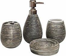 Badezimmer-Set, 4-teilig, strukturierte Keramik,