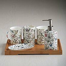 Badezimmer-set fünf kontinentalen keramische Badezimmer Bad Toilettenartikel Zahnpasta Zahnbürste Becher