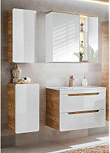 Badezimmer Set in Hochglanz weiß, Wotaneiche