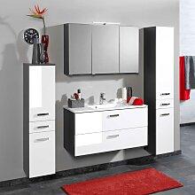 Badezimmer Set in Weiß Grau mit Spiegelschrank