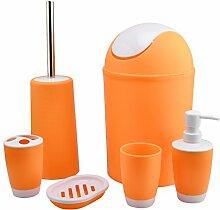 Badezimmer-Set,Lommer 6 Stück Kunststoff-Bad-Zubehör--Orange