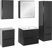 Badezimmer-Set MAJA large schwarz hochglanz