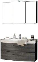 Badezimmer Set mit 3D Spiegelschrank Eiche Grau