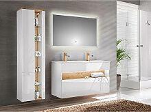 Badezimmer Set mit Doppel-Becken inkl. LED-Spiegel