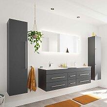 Badezimmer Set mit Doppelwaschtisch Anthrazit und