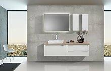Badezimmer Set mit LED Spiegel Unterschrank und