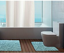 Badezimmer-Set von Just Contempo, Badematten aus Baumwolle, Schwarz, baumwolle, türkis / blau, 80 x 50 x 1 cm