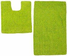 Badezimmer-Set von Just Contempo, Badematten aus Baumwolle, Schwarz, baumwolle, lindgrün, 50 x 80 cm