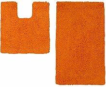 Badezimmer-Set von Just Contempo, Badematten aus Baumwolle, Schwarz, baumwolle, orange - tangerine orange, 50 x 80 cm