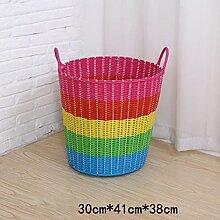 BADEZIMMER-STAUBSCHEIBE-EISBEHÄLTER-KASTEN-KASTEN MIT SCHAUMSTOFF-PLASTIK-STAUB-WARENKORB-KORB-KORB-KORB ( farbe : Pink Blue Rainbow Color , größe : 30*41*38cm )