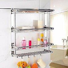 Badezimmer Toilette Bad Handtuch Rack Edelstahl Handtuchhalter Doppel-Badezimmer Regal Badezimmer Toilette Wand, weißer Diamant, dreifach, 40cm