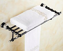Badezimmer Toiletten europäischen Stil Schwarz Kristall Bad Handtuch Rack Bad Regal Bronze Messing antik Handtuch Rack Metall-Anhänger
