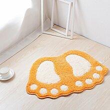 Badezimmer-Tür-Matten Badezimmer Schlafzimmer Wohnzimmer Badezimmer Halle Die Tür Absorbent Skid Pad ( Farbe : Orange )