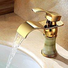 Badezimmer Vergoldet Heiß Und Kalt Waschbecken Wasserfall Wasserhahn Waschbecken Wasserhahn Bad Hardware