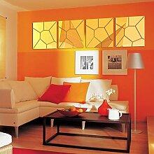 Badezimmer Wand Spiegel Dekoration Dekoration Wohnzimmer Küche Acryl Spiegel dekorative Wandaufkleber Wanddekor, Golden, 25 CM X 25 CM X 4