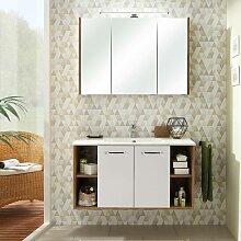 Badezimmer Waschplatz in weiß Glanz mit Eiche