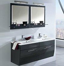 Badezimmer Waschplatz Set Hochglanz anthrazit Badmöbel Spiegelschrank Waschtisch