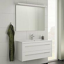 Badezimmer Waschplatz Set LUGIE256 weiß matt 100cm