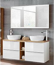 Badezimmer Waschtisch & LED-Spiegel Set TOSKANA-56