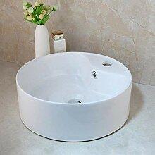 Badezimmer Weiße runde Keramik Waschbecken Schiff