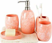 Badezimmer-Zusätze Sätze Porzellan Badezimmer-Suite Wasch-Sets Emulsionsflaschen Zahnbürstenhalter Seifenschale , orange red
