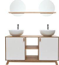 Badezimmermöbel: 2 Waschbecken 2 Türen helle