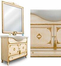 Badezimmermöbel Barock elfenbein patiniert mit Dekor in Blattgold