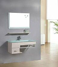 Badezimmermöbel Set Badmöbel Gela Eiche Holzoptik - M-70130/2089 - Spiegel - Unterschrank - Waschbecken