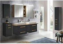Badezimmermöbel Set in anthrazit mit Eiche
