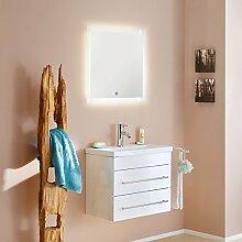 Badezimmermöbel Waschtisch Set ● 60cm Keramik-Waschbecken ● Unterschrank in Hochglanz weiß ● LED Leuchtspiegel mit Touch-Sensor ● Softclose-Schubladen mit Edelstahl Griffen