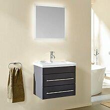 Badezimmermöbel Waschtisch Set, 60cm Keramik-Waschbecken, Unterschrank in seidenmatt anthrazit, LED Leuchtspiegel mit Touch-Sensor, Softclose-Schubladen