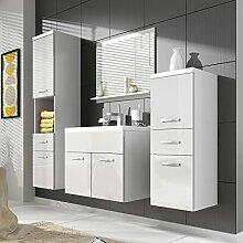 Badezimmerschrank Alba 60 cm Waschbecken Hochglanz weiß – Stauraum Unterschrank Spüle Möbel